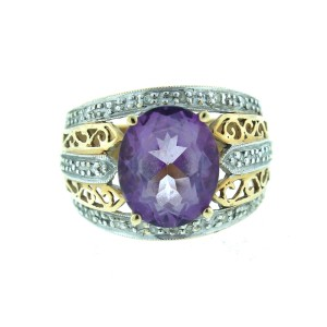 14K Yellow Gold and White Gold Amethyst Ring