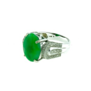 14K White Gold Jade Ring