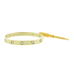 Cartier Love Bracelet B6040517 Yellow Gold 10 Diamond Size 17
