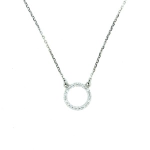 14k White Gold Life Circle Diamond Necklace