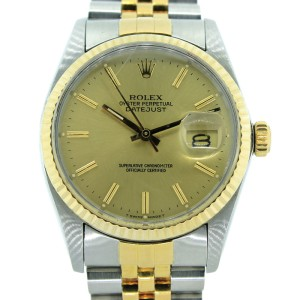 Rolex Oyster Perpetual DateJust Two Tone Champagne Dial Watch