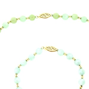 14K Yellow Gold Green Jade Beaded Necklace and Bracelet Set