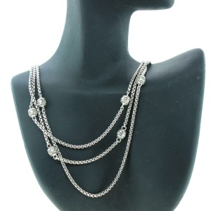 Judith Ripka Multiple chain Cz Stone necklace
