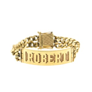 14k Yellow Gold Engraved ID Cuban Link Bracelet