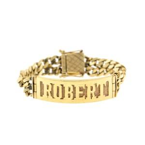 14k Yellow Gold Engraved ID Cuban Link Bracelet