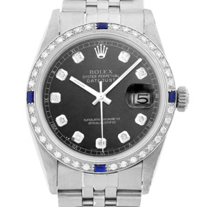 Rolex Mens Datejust 36mm Black Diamond Dial and Bezel Stainless Steel Watch