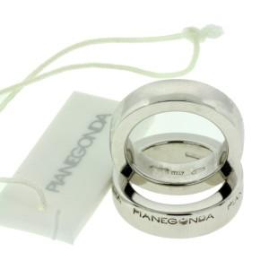 Pianegonda Sterling Silver Set Of Two Logo Ring