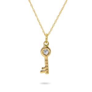 18K Yellow Gold with White Diamonds Key Pendant Necklace