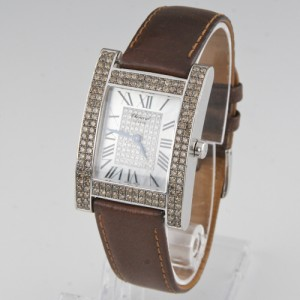 Chopard Your Hour 17/3451-55 18K White Gold / Leather with Diamond Quartz 28mm Womens Watch