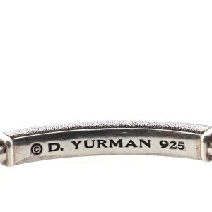 David Yurman Pave ID Box Chain Bracelet Sterling Silver with Grey Sapphires