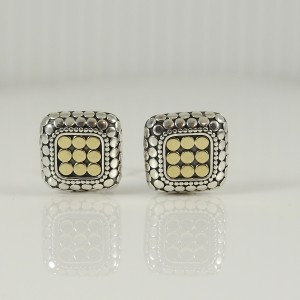 John Hardy Sterling Silver 18K Yellow Gold Square Dot Earrings