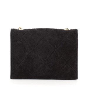 Chanel Vintage Diamond CC Flap Bag Quilted Suede Small