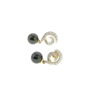 14K Yellow Gold Diamond & Black Pearl Dangle Earrings