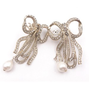 Chanel Silver Tone Hardware with Rhinestone and Simulated Glass Pearl Ribbon Bow Clip on Earrings
