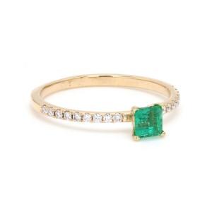 Princess Cut 0.32ct. Emerald and 0.13ct. Diamond Ring Size 5.5
