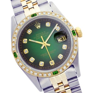 Rolex Mens Datejust Gold and Stainless Steel Green Vignette Dial 36mm Watch
