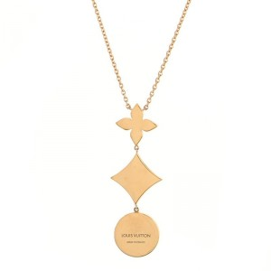Louis Vuitton Color Blossom Lariat Necklace 18K Rose Gold with Mother of Pearl and Diamond
