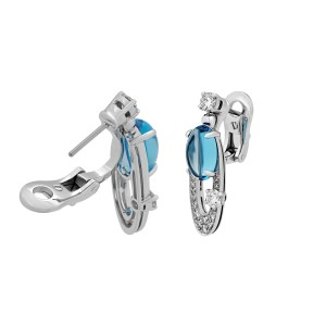 Bulgari Elisia 18K White Gold Blue Topaz 1.16ctw Diamond Earrings