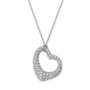 Tiffany & Co. Platinum Diamond Elsa Perretti Open Heart Necklace