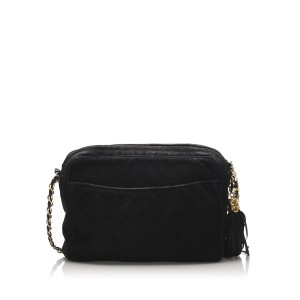 CC Quilted Suede Crossbody Bag