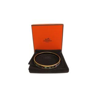 Hermes Cloisonne And Palladium Bangle Bracelet