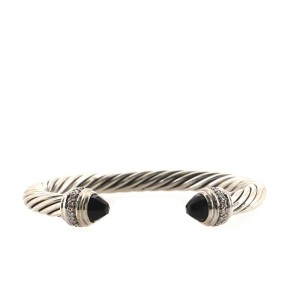 David Yurman Cable Classic Bracelet Sterling Silver with Onyx and Diamonds 7mm