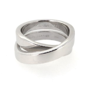 Cartier White 18k Gold Nouvelle Vague Crossover Band Ring
