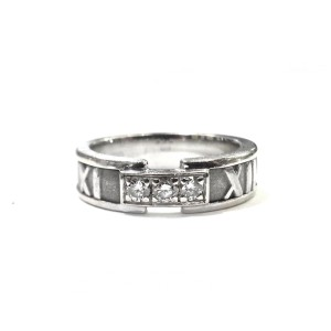 Tiffany & Co Atlas 18K White Gold with 3 Diamond Ring Size 6