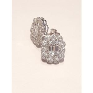 White Gold Diamond Flower Earrings