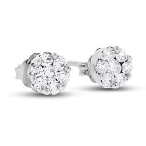 14k White Gold 0.42 Ct. Natural Diamond Mini Flower Floral Stud Earrings