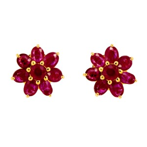 22K Yellow Gold and Ruby Flower Earrings