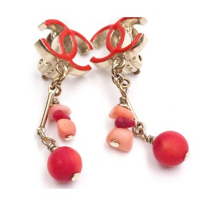 Chanel CC Gold Tone Hardware Red Enamel & Coral Dangle Clip on Earrings