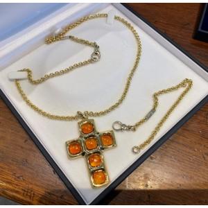 Golden Pomellato Chain with Cross & Bracelet 18 K