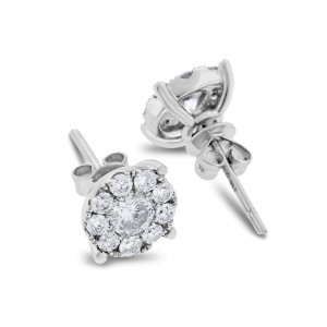 14k White Gold 0.94 Ct. Natural Illusion Studs Super Sparkle Earrings