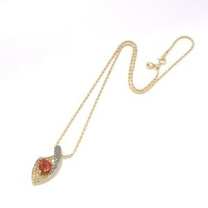JEWELRY 18k Yellow gold Diamond Orange Garnet Necklace rcb-30