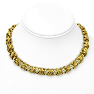 Tiffany & Co. 18k Yellow Gold and Diamond X Link Collar Necklace