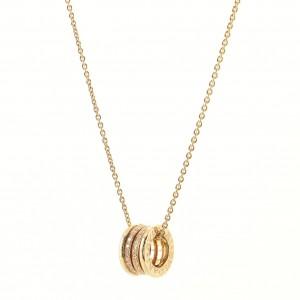 Bvlgari B.Zero1 Round Pendant Necklace 18K Yellow Gold with Diamonds Medium