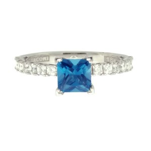 Tacori 18K White Gold Blue Topaz .77ctw Diamond Ring 6.25