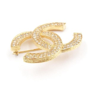 Chanel 24K Gold Plated Silver Crystal CC Brooch