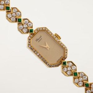 Chopard 7688 18K Yellow Gold with Emerald and Diamond 20mm Manual Women Watch