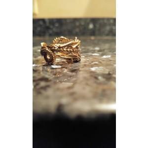14K Yellow Gold Oborous Dragon Ring Sz 8