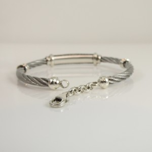 Charriol Sterling Silver and Stainless Steel with Diamond Cable Bracelet