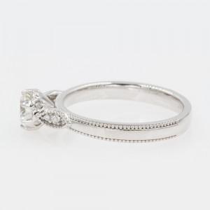 14K White Gold with 0.46ct Round Cut Diamond Milgrain Engagement Ring Size 6