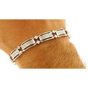 14K White Gold with 1.00ct Diamonds Link Bracelet