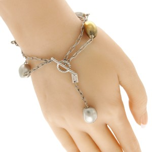 Roberto Coin 18K White Gold with Silver & Golden Cultured Pearl Bracelet
