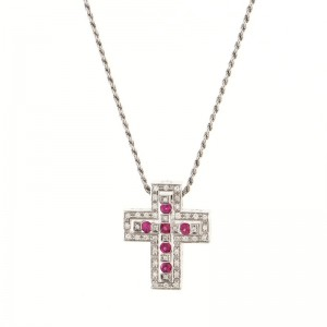 Damiani Belle Epoque Pendant Necklace 18K White Gold with Diamonds and Rubies