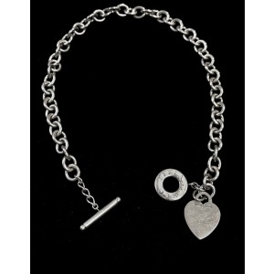 Tiffany & Co. 925 Sterling Silver Heart Tag Toggle Necklace