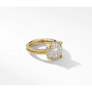 David Yurman Chatelaine Ring in 18K Yellow Gold with Full Pavé Diamonds