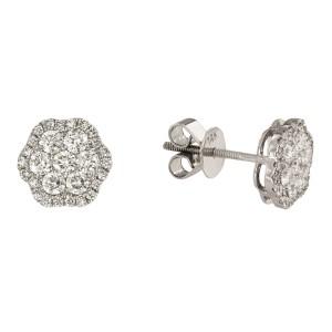 14K White Gold with 0.73ctw Diamond Flower Stud Earrings