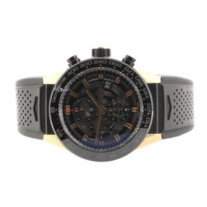Tag Heuer Carrera Calibre Heuer 01 Skeleton Chronograph Automatic Watch Titanium with PVD Rose Gold with Rubber 45